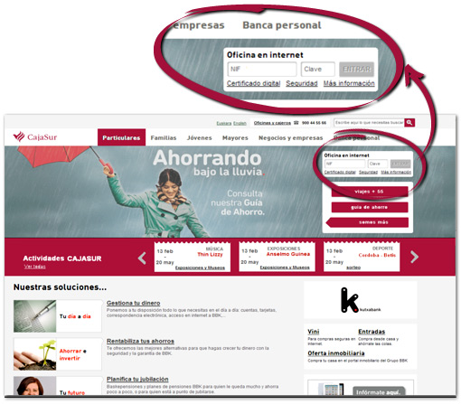 Bienvenido a cajasurnet for Bankia particulares oficina internet entrar
